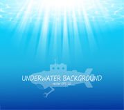 Blurred underwater background with sunbeams Royalty Free Stock Images