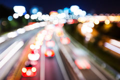 Blurred unfocused highway view Stock Photo