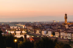Blurred unfocused panoramic view to the river Arno Royalty Free Stock Photos