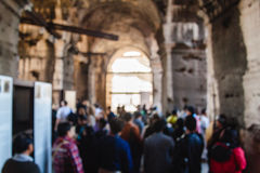 Blurred unfocused picture of tourists in Coliseum. Rome. Italy.  royalty free stock photos