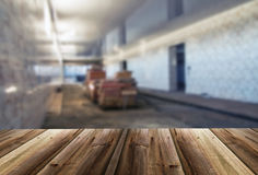 Blurred unfocused picture of warehouse. Interior stock images