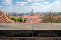 Blurred view from above of the houses with red-tiled roofs, Prag Stock Images