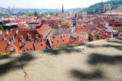 Blurred view from above of the houses with red-tiled roofs, Prag Royalty Free Stock Photo
