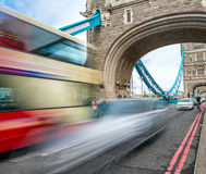 Blurred view of bus crossing Tower Bridge, London - UK Royalty Free Stock Image