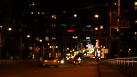 Blurred view of city street. At night 4k stock video