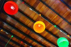 Blurred view of many color lamp under ceilings Royalty Free Stock Photos