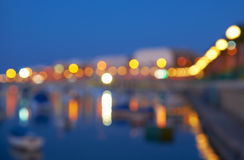 The blurred view of Marsaskala waterfront and Marsascala Bay. Ma Stock Images