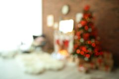 Blurred view of room with Christmas tree. Blurred view of room with beautiful Christmas tree Royalty Free Stock Image