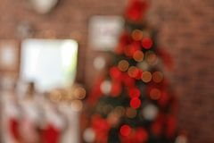 Blurred view of room with beautiful   tree. Blurred view of room with beautiful Christmas tree Stock Photos