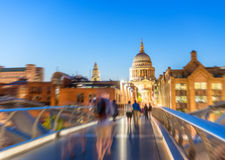Blurred view of St Paul Cathedral at night, London Royalty Free Stock Photo