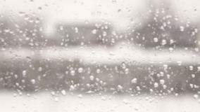 Blurred view from the window. With raindrops stock footage