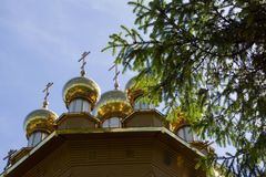 Blurred view on the wooden cathedral and sky from behind the fir branches. Belgorod, Russia Stock Photography