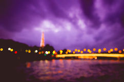 Blurred Vision in Paris. Stunning Parisian bokehlicious view taken from a boat royalty free stock images