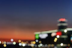 Blurred city lights and evening sky background royalty free stock image