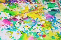 Blurred vivid pastel shapes, abstract watercolor pastel hues. Pastel sparkling blurred vivid muddy soft playful shapes in pastel vivid hues are placed on Stock Image