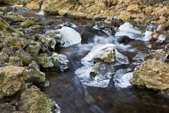 Blurred water flowing down a rocky creek through ice. stock image