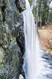 Blurred waterfall background winter new england. A blurred waterfall background and flowing stream nature picture at Burr Pond Torrington, Connecticut royalty free stock photography