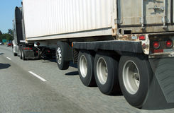Blurred wheels of truck Royalty Free Stock Images