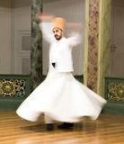 Blurred Whirling Dervishes practice their dance Royalty Free Stock Photos