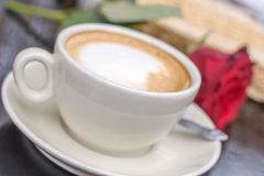 Blurred white cup of coffee Stock Photos