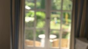 Blurred window and curtain. stock video footage