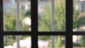 Blurred window frame indoor. stock video footage