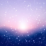 Blurred winter background with snow and sunrise. For your design Royalty Free Stock Photo