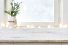 Free Blurred Winter Holiday Background With Vintage Wooden Table In Front Stock Photo - 160816210