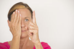 Blurred woman eyesight focus test Royalty Free Stock Photography