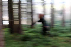 A blurred woman in the forest Royalty Free Stock Photo