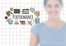 Blurred woman and Performance text with drawings graphics Stock Image