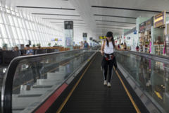 Blurred a woman travelers Royalty Free Stock Images