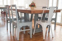 Blurred wooden dining room furniture Stock Photos
