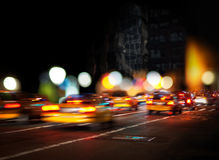 Blurred yellow cabs Stock Photography