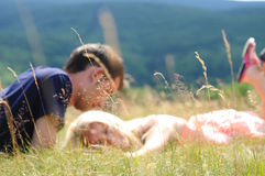 Blurred young couple in nature Stock Images