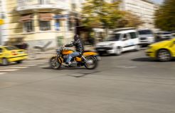 Motorcyclist rides motorcycle chopper on the street in Sofia / Bulgaria / 10.19.2017 / stock images