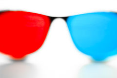 Blurry 3DTV Glasses. Pair of Blurred 3DTV Anaglyph Glasses Up Close Royalty Free Stock Photo