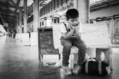 Blurry abstract of the little boy standing alone Royalty Free Stock Photos