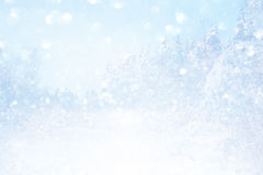 Blurry and abstract magical winter landscape. Photo. Glitter overlay royalty free stock image
