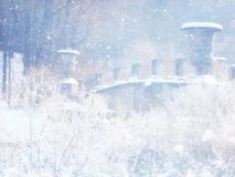 Blurry and abstract magical winter landscape photo. Glitter overlay. Royalty Free Stock Photo