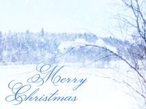 Blurry and abstract magical winter landscape photo with greeting text: Merry Christmas. Glitter overlay. Blurry and abstract magical winter landscape photo with Stock Photo