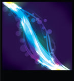Blurry abstract neon light effect background. On black stock illustration