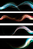 Blurry abstract neon light effect banner stock illustration