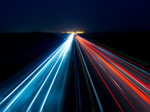 Blurry abstract photo of the lights of cars. On the highway Royalty Free Stock Photo