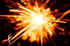 Blurry, abstract style decorative sparkles. From a sparkler candle Stock Photo
