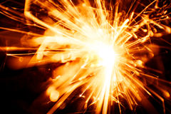 Blurry, abstract style decorative sparkles. From a sparkler candle Stock Photography