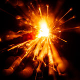 Blurry, abstract style decorative sparkles. From a sparkler candle Royalty Free Stock Photo