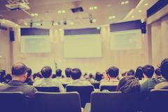 Blurry of auditorium for shareholders` meeting or seminar event stock photo