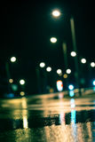 Blurry background. Abstract dark blurry urban background. Wet road Royalty Free Stock Image
