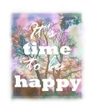 Blurry background with tree and positive slogan. Floral design Stock Photo
